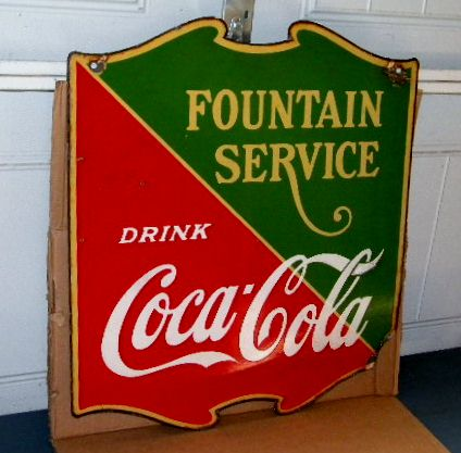 $OLD Coca Cola Fountain Service Double Sided Porcelain Sign