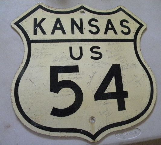 Old Kansas US Route 54 Diecut Shield Sign $OLD
