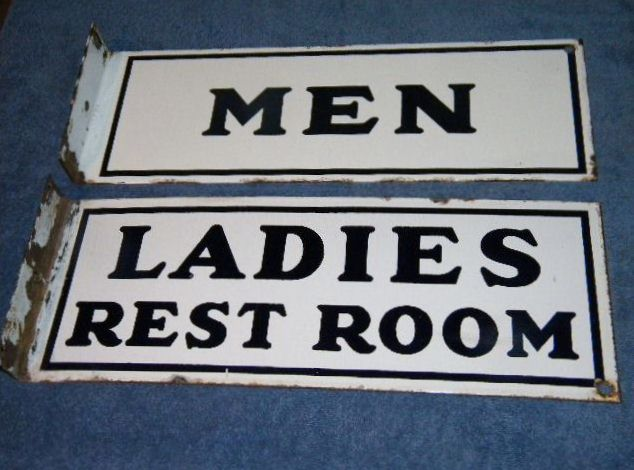 Men & Ladies Porcelain Gulf Flange Signs $OLD