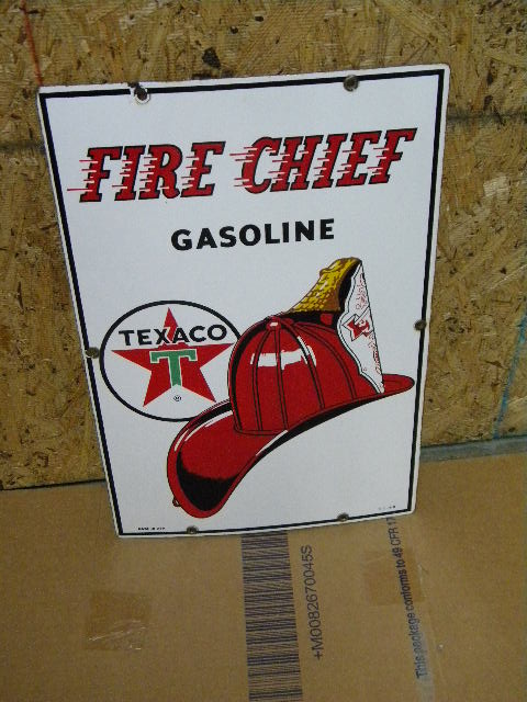 $OLD Texaco Fire Chief Porcelain Pump Plate Sign