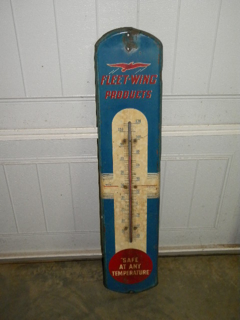 $OLD Fleetwing Tin Thermometer
