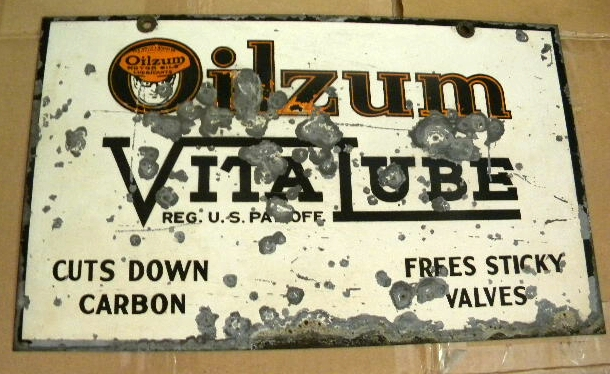 $OLD Oilzum Vitalube Double Sided Tin Sign