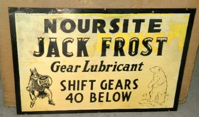 $OLD Noursite w/ Jack Frost DBL Sided tin Sign