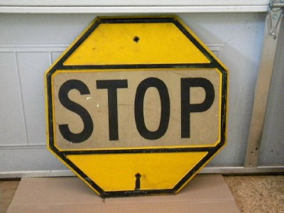 $OLD Old Embossed US Road STOP Sign