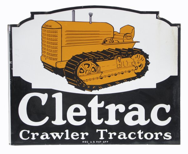WANTED: Cletrac Crawler Tractor Porcelain Flange Sign (or std Sign).