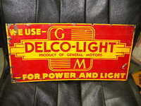 $OLD GM Delco Light Tin Sign
