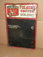 $OLD Folgers Coffee Tin Menu Board Sign