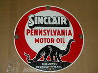 $OLD Sinclair Porcelain Lubester Sign w/ Dino
