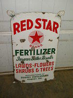 $OLD Red Star Diecut Porcelain Flour Sign Downey, California