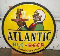 $OLD Atlanic Beer Porcelain Convex Button Sign w/ Black Waiter Beer Graphics
