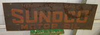 $OLD Sunoco Embossed Tin Sign