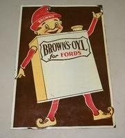 $OLD Old Browns Oil for Fords Tin Sign w/ Brownie Graphics
