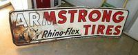 $OLD Armstrong Tires Tin Sign w/ Rhino