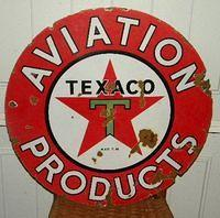 Rare 24 Inch Double Sided Texaco Aviation Products Sign $OLD