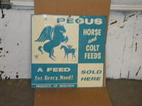 $OLD Pegus Horse & Colt Graphic Tin Feed Sign