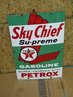 $OLD Texaco Sky Chief Petrox Porcelain Gas Pump Sign