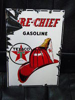 $OLD Original 8x12 PPP Fire Chief Pump Sign Porcelain