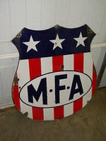 $OLD Diecut MFA Gasoline Porcelain SSP Shield Sign