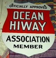 SOLD: Ocean Highway Shield Sign Porcelain