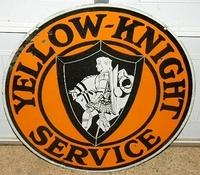 $OLD Early Yellow Knight Service Double Sided Porcelain Truck SIGN w/ Graphics Horse