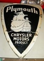 $OLD Early Plymouth Diecut Porcelain Sign w/ Mayflower Graphics Neon?