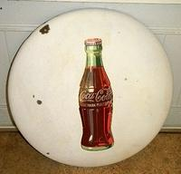 $OLD Old Coca Cola 24 Inch White Porcelain Button Sign