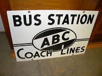$OLD Old ABC Coach Lines Indiana Porcelain Sign SUPER NICE