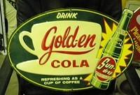 $OLD Golden Cola SundDrop Sign w/ White Coffee Cup Diecut Original