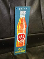 $OLD PAL Orange Soda Pop Tin Door Push Sign