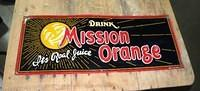 $OLD Mission Orange Soda Pop Early Embossed Tin Sign