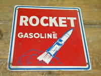 $OLD Rocket Gasoline Heavy Metal Pump Plate Sign w/ Graphics