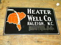 $OLD Raleigh NC Heater Well Company Porcelain Sign w/ Graphics