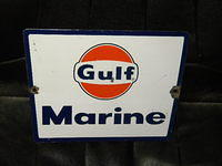 $OLD Gulf Marine Porcelain Pump Plate Sign
