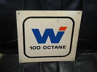 $OLD Wides Gasoline Tin 100 Octane Pump Plate Sign