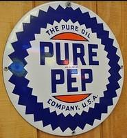 WANTED: Pure PUROL & WOCO PEP 15 Inch Porcelain Signs